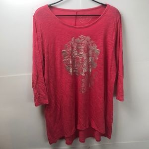 Lucky Brand 1X top 3/4 sleeve pink silver floral
